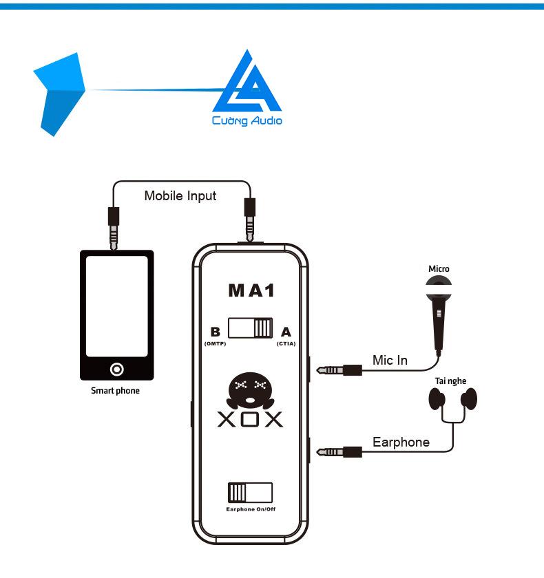 Cục phát live stream XOX MA1 trên điện thoại, smartphone âm chuẩn